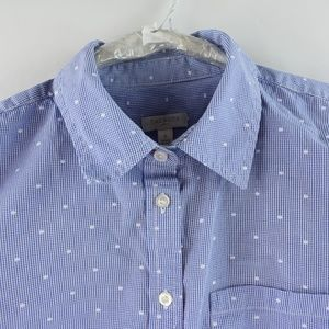Talbots Blue Polka Dot Button Down Shirt Sz Small
